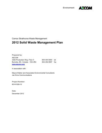 Solid Waste Management Plan, 2013 - Coast Waste Management ...