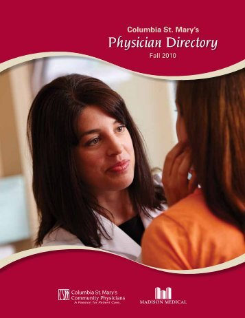 Physician Directory - Columbia St. Mary's