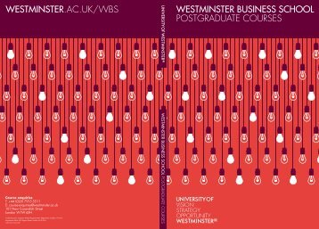 WESTMINSTER BUSINESS SCHOOL POSTGRADUATE COURSES ...