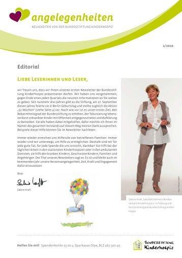 Newsletter öffnen (pdf) - Bundesstiftung Kinderhospiz