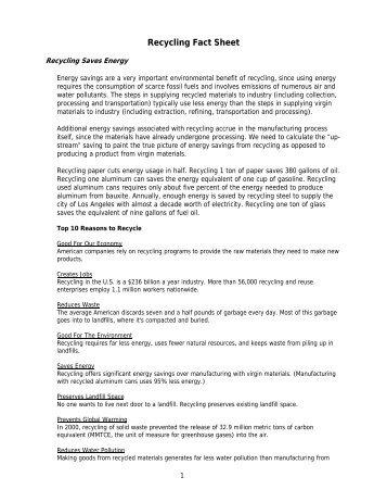 Recycling Fact Sheet