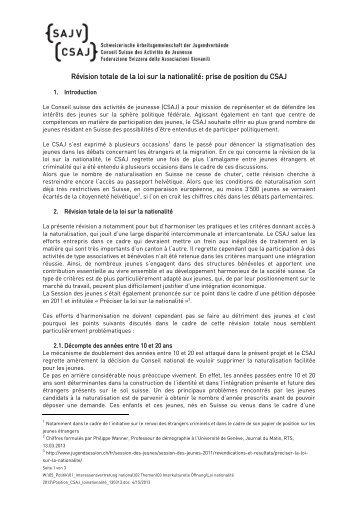 Révision totale de la loi sur la nationalité: prise de position ... - SAJV