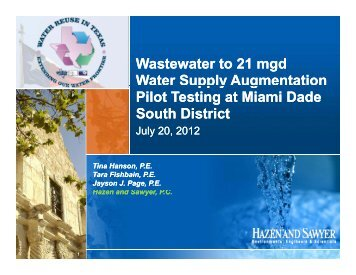 Wastewater to 21 mgd Water Supply, A Case Study for ...