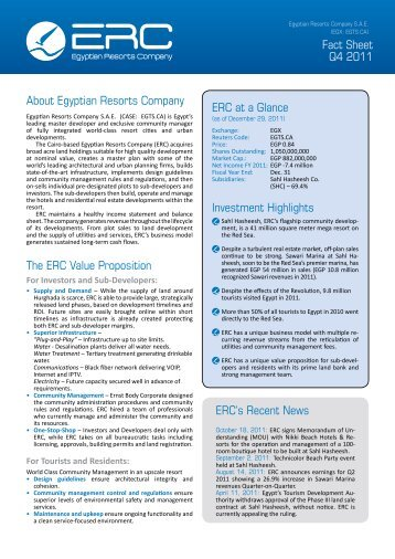 About Egyptian Resorts Company The ERC Value ... - ERC Egypt