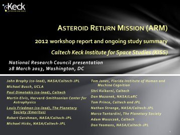 Asteroid Return Mission - Keck Institute for Space Studies - Caltech