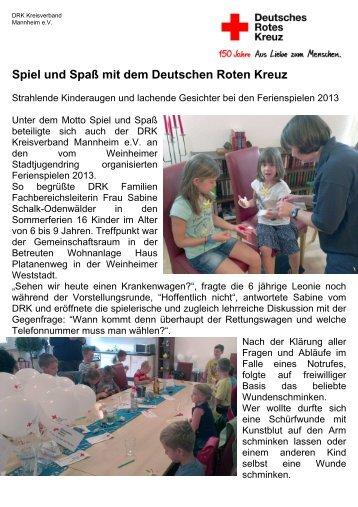 Ferienspiele 2013 - DRK-Kreisverband Mannheim e.V.