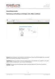 Kurzanleitung Joomla: Bearbeitung und Erstellung von ... - MEDIARTS