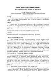 """POJEM """"INFORMAČNÍ MANAGEMENT"""" - Vysoká škola logistiky ops"""