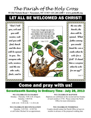 Come and pray with us! - Parish of the Holy Cross