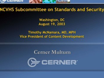 Cerner Multum - National Committee on Vital and Health Statistics