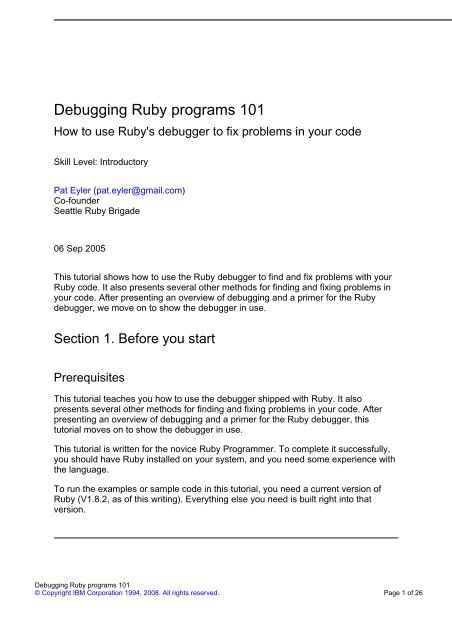 Debugging Ruby programs 101 - IBM