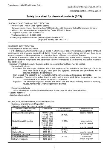 Safety data sheet for chemical products (SDS) - Krypton ...