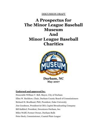 A Prospectus for The Minor League Baseball Museum And Minor ...