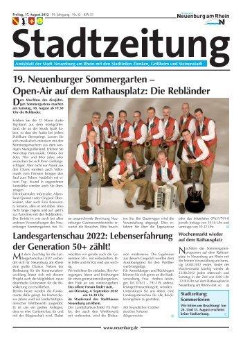 19. Neuenburger Sommergarten – Open-Air auf dem Rathausplatz ...
