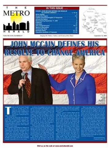 john mccain defines his resolve to change america - The Metro Herald