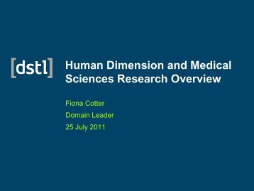 Human Dimension & Medical Systems - Dstl