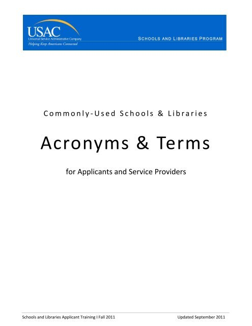 Commonly -Used Schools & Libraries Acronyms & Terms