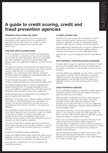 Your guide to credit scoring - M&S Bank - Marks & Spencer