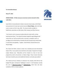 For Immediate Release May 25 , 2010 MZANSI ... - (M-Net) Corporate