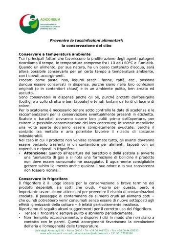 Conservazione cibi - Adiconsum