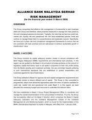 Risk Management Report - Alliance Bank Malaysia Berhad