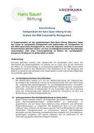 Ausschreibung Teilstipendium der Hans-Sauer-Stiftung für das ...