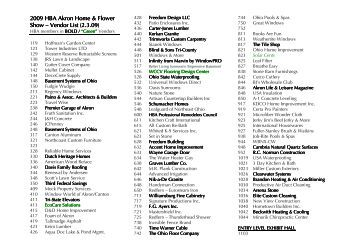 2012 Home Flower Show vendor list Akron Home and Flower Show