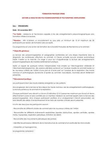 FORMATION PRATIQUE SFRMS LECTURE et ANALYSE DES ...