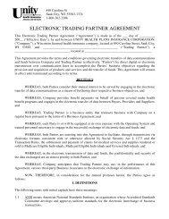 electronic trading partner agreement - Unity Health Insurance