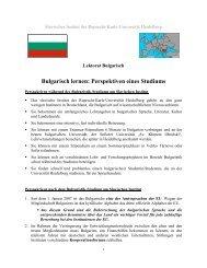 Bulgarisch lernen: Perspektiven eines Studiums - Slavisches Institut