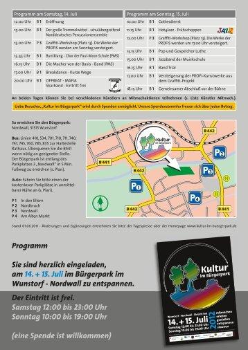 Programm, Einladung, Künstler, Anfahrt - Kultur im Bürgerpark