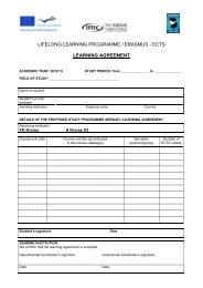 LIFELONG LEARNING PROGRAMME / ERASMUS - ECTS ...