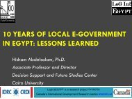 10 YEARS OF LOCAL E-GOVERNMENT IN EGYPT ... - EuroAfrica-ICT