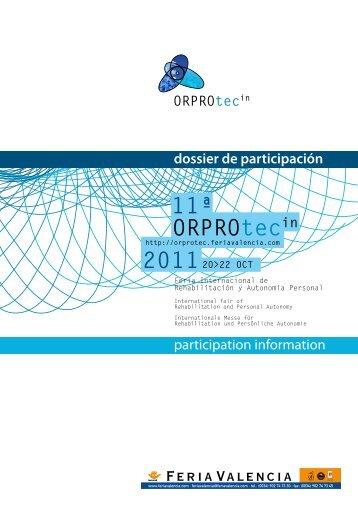 Dossier de Participacion 2011 - Orprotec - Feria Valencia