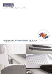 Faurecia Rapport Annuel 2003 - Rapport financier