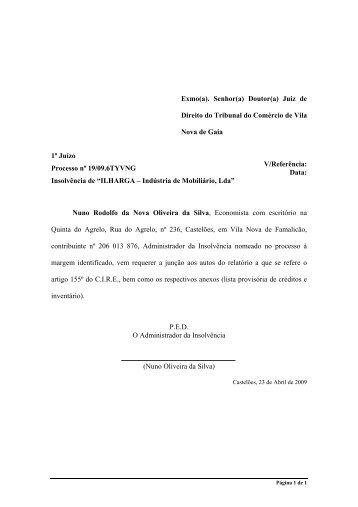 Insolvência de - Nuno Oliveira da Silva