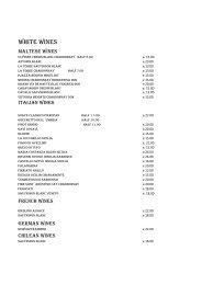white wines - Ristorante Sikania St. Julian's Malta