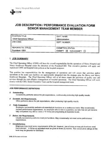 Job Description I Performance Evaluation Form   Alliance For .