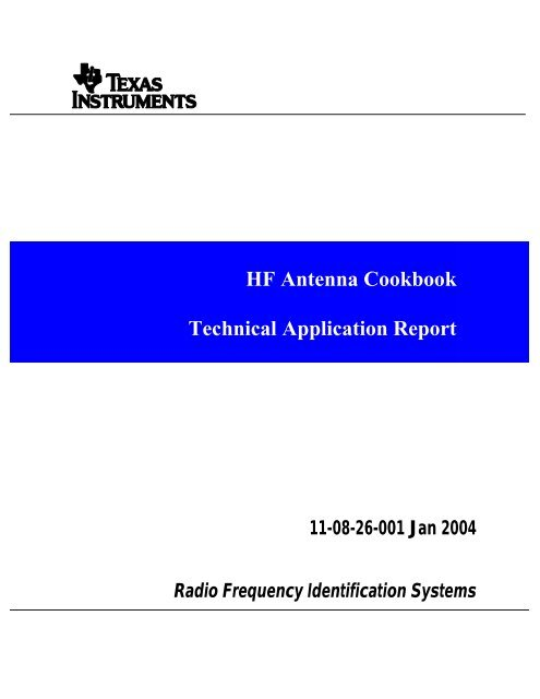 HF Antenna Cookbook Technical Application     - PROXMARK org
