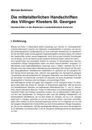 Die mittelalterlichen Handschriften des Villinger Klosters St. Georgen