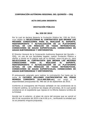 Acta Declara Desierta Invitacion Publica No. 030 de 2010