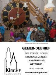 Gemeindebrief Nr. 94 - Evangelische Kirchengemeinde