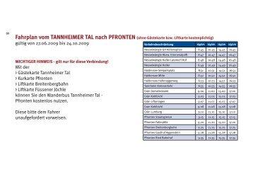Fahrplan vom TANNHEIMER TAL nach ... - Tannheimertal.at