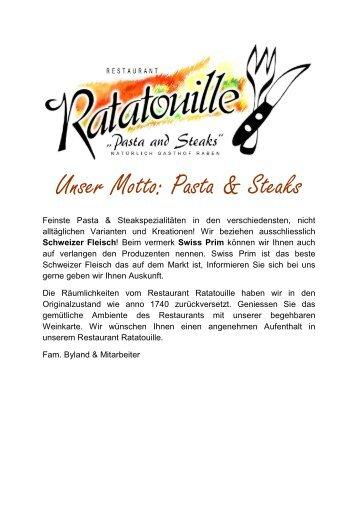 Unser Motto: Pasta & Steaks - Gasthof Raben