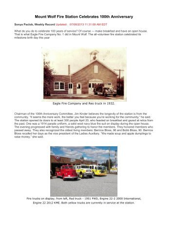 Mount Wolf Fire Station Celebrates 100th Anniversary