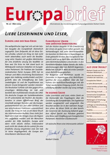 Europabrief April 2003 - Glante, Norbert