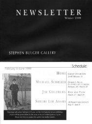 Stephen Bulger Gallery Newsletter -- Winter 1999 - School of Image ...