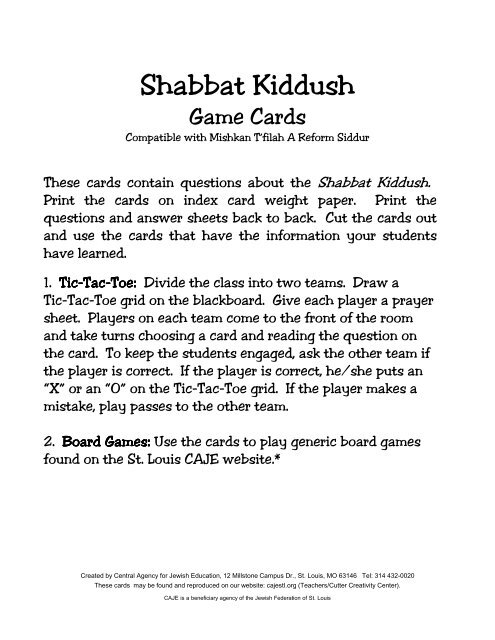 Shabbat Kiddush Question and Answer Game Cards
