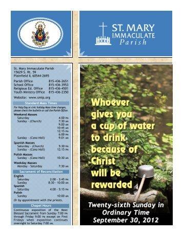Twenty-sixth Sunday in Ordinary Time September 30, 2012 - St Mary ...