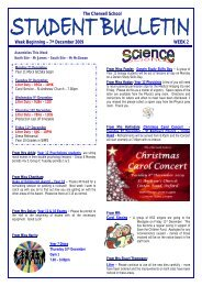 The Cherwell School Week Beginning – 7th December 2009 WEEK 2